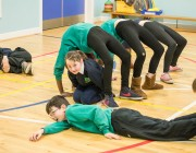 Pupils from Craigroyston Primary school Edinburgh taking part in a Movement workshop. January 2014 (Photographer Aly Wight)