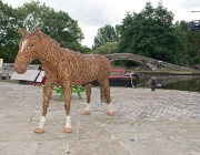 Sculpture of War Horse created by artist Juliet Hamilton and on display at Portland Basin Museum as part of an engagement project with Tameside MBC. September 2013